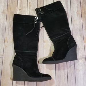 Franco Sarto Black Suede Knee High Wedge Boot 10